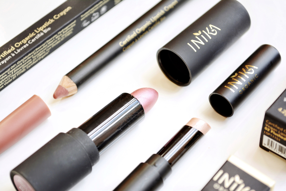 Reviews of INIKA Organic & natural lip products - including certified organic vegan lipstick in the shade Flushed, certified organic Lipstick Crayon (Pink Nude), and certified organic Lip Tint (Candy)