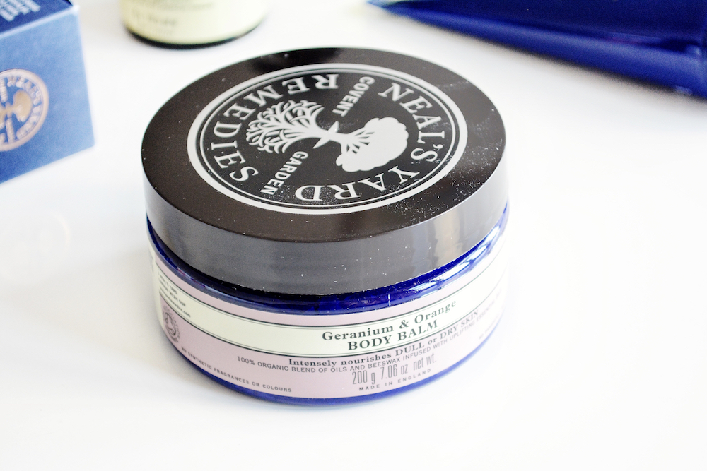 Neal's Yard Remedies Geranium & Orange Body Balm review - an intensely nourishing balm for dry or dull skin made with organic olive, pumpkin and shea butter