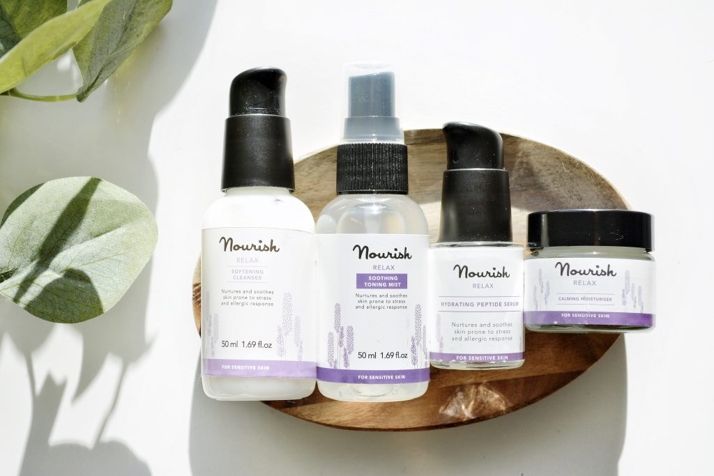 Review of Nourish London Skincare Relax Essentials range with lavender for sensitive skin prone to reactions and stress. Nourish London is a British organic skincare brand with vegan, cruelty-free and natural ingredients